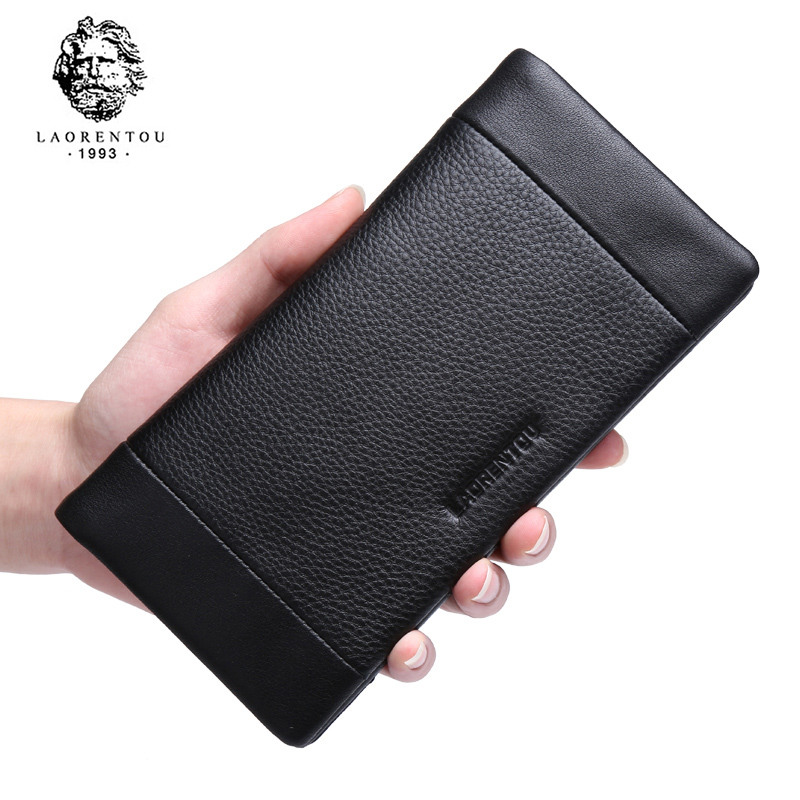 Laorentou Brand Top Grade Soft Genuine Cow Leather Long Style Men Wallet Leather Clutch Bags With Card Slot Men Wallets N57