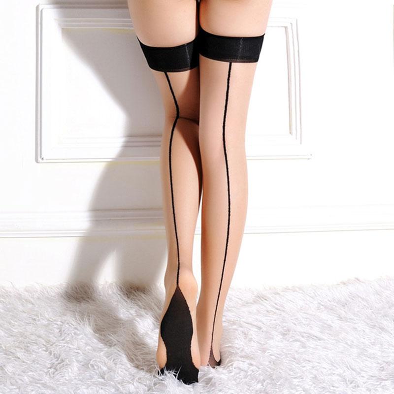 11dddb220 Brand New Sheer Thigh High Stocking for Women Back Seam Cuban Heel  Stockings Perfect Rib Top Black Lines Over Knee Stockings