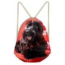Funny 3D Dog Scottish Terrier Print Women Men Drawstrings Bags Teens Boys Girls Storage Backpacks Softback Beach BagSumka