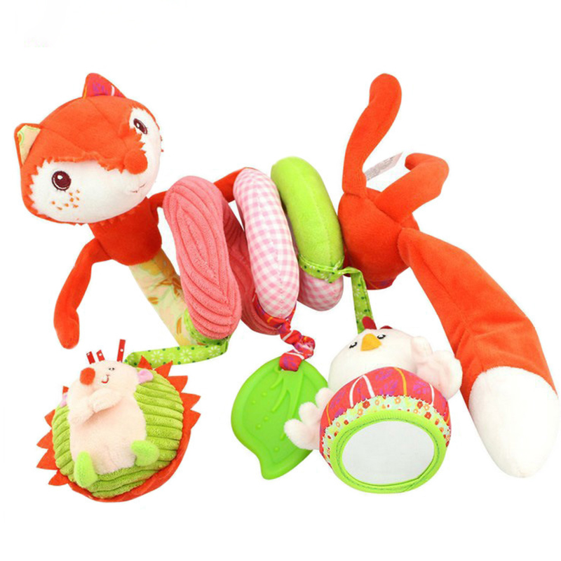 Baby rattles baby lathe pendant fox bed around the baby cloth bed around the rattan paper 0-2years old 21*10cm Toys for children