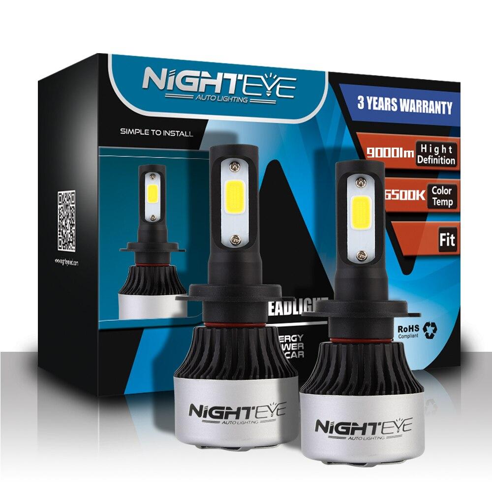 2018 Nighteye 9000LM 6500 k H4 H7 H11 72 w Auto COB LED del faro Lampadine Canbus Free error Anti Flicker durata della vita 100, 000hrs