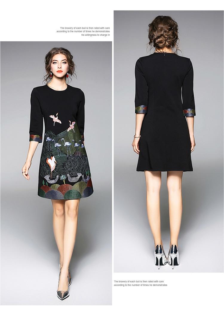 Vintage Embroidery 3/4 Sleeve Office Dress 3