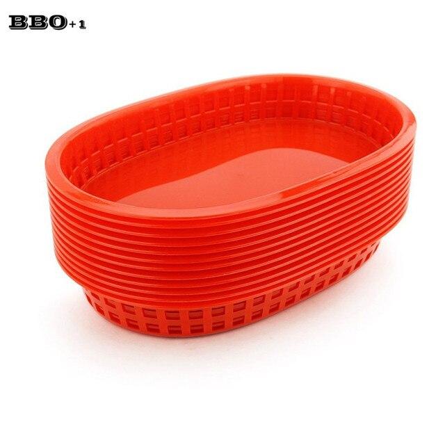 hot 12pcslot large fast food platter basket red plastic dinner plates serving platter plastic