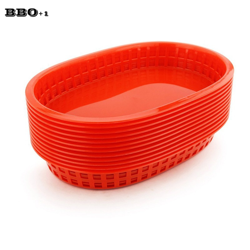 hot 12pcslot large fast food platter basket red plastic dinner plates serving platter plastic
