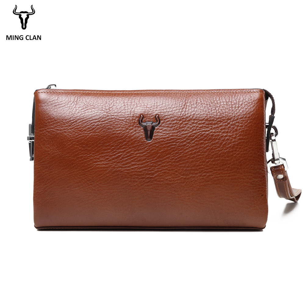 Mingclan Men Clutch Bag Cowhide Chain Bags Retro Handbag Long Wallet Hand Bag Wallet Purse Big Card Holder Male Zipper Phone Bag