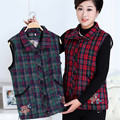 Quilted Waistcoat Middle Age Mother Plaid Embroidery Warm Vest Fall Winter Brand New Big Size 5XL Women Lapel Cotton-Padded Coat