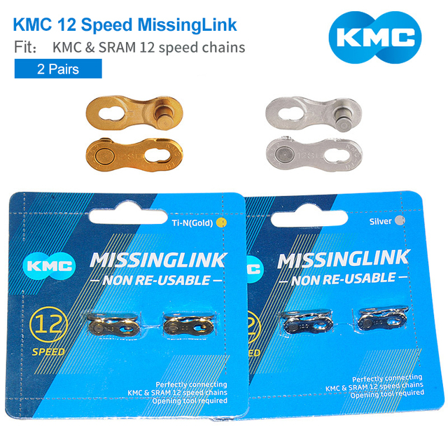 2 pares 12 Velocidade Bicicleta Chains Fivela Mágica Mountain Road Bicicleta KMC Missing Link Chains Fit & 12 SRAM Velocidade correntes de Prata de Ouro