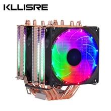 Ventilador de enfriamiento de CPU RGB, 6 tubos de calor, 3 pines, 4 pines, 2 ventiladores para Intel 1150, 1155, 1156, 1366, X79, X99, placa base AM2/AM3/AM4