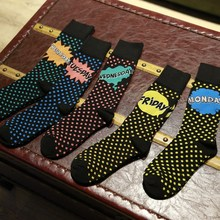PEONFLY Man Canister happy Autumn Winter Thickening Week mens Socks Male Socks Pure Cotton Leisure Time