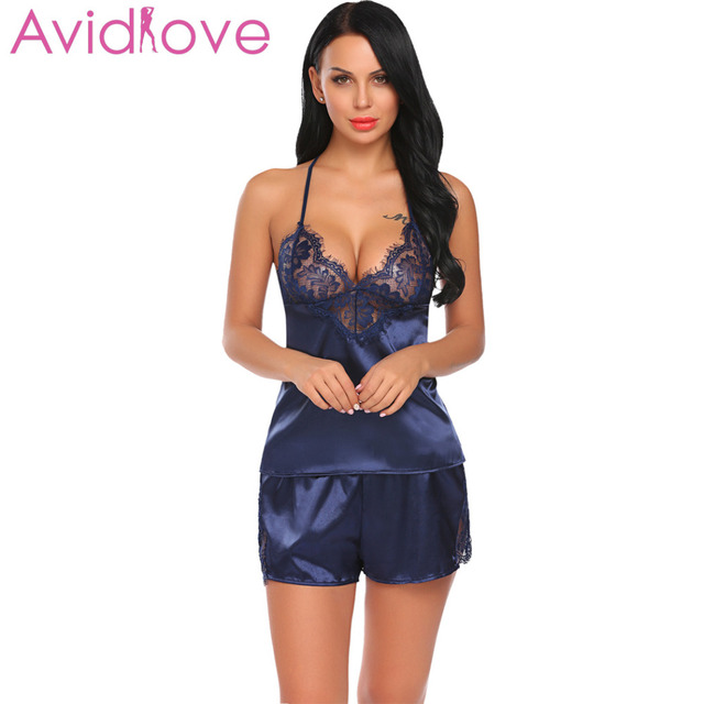 9926a6afd7 Avidlove Stain Nightwear Women Nightgowns Silk Sleepwear Patchwork Cami  Sexy Lingerie Set Lace Nighty Set Sleepwear pijama mujer
