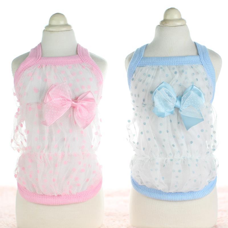 لباس Bows Dot Lace Dogs for Dogs Hoodies Vest گربه لباس - محصولات حیوان خانگی