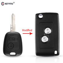 KEYYOU Modified 2 Buttons Key Remote Car Accessories Case For Peugeot 206 207 306 406 For Citroen NE73 Blade Key Shell Case
