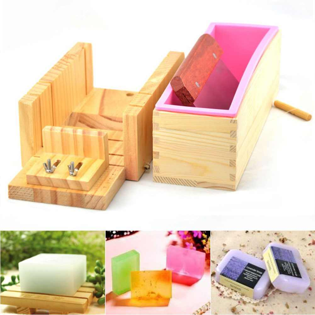 3PCS/Set Silicone Tray Craft Box Cutter Practical DIY Handmade Accessories Safe Soap Mold Wooden Loaf Mould Home Adjustable