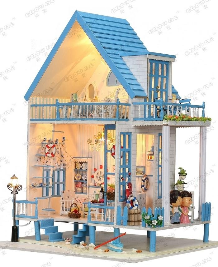 "3D DIY LED Light Dollhouse Miniature ""TheEast Coast OF"