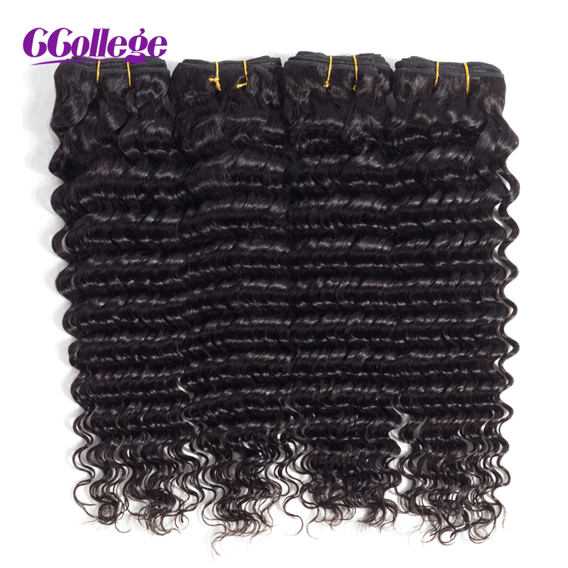 CCollege Indian Human Hair Deep Wave Weave Bundles Natural Color Remy Hair Weaving Machine Double Weft Hair Extension No Shed