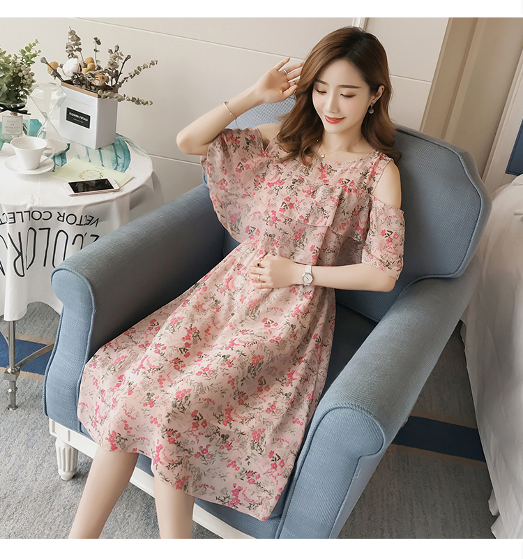 Pregnant Nursing Dress Off Shoulder print Maternity Breastfeeding Dresses For Photo Shoot Chiffon Maternity Dress Party Clothes 75