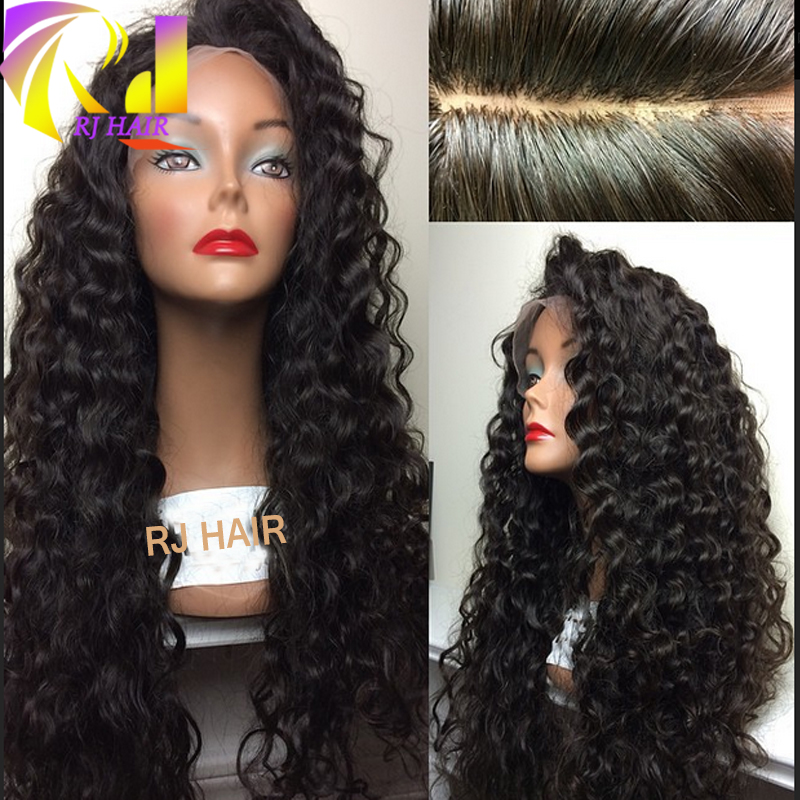 Brazilian 4x4 Size Silk Top Full Lace Wig Curly Human Hair