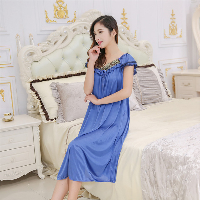 Free Shipping 2017 Women Summer Plus Size Ice Silk Nightgown Female Large  Size Short Sleeve sleepwear eaf678b54aa4