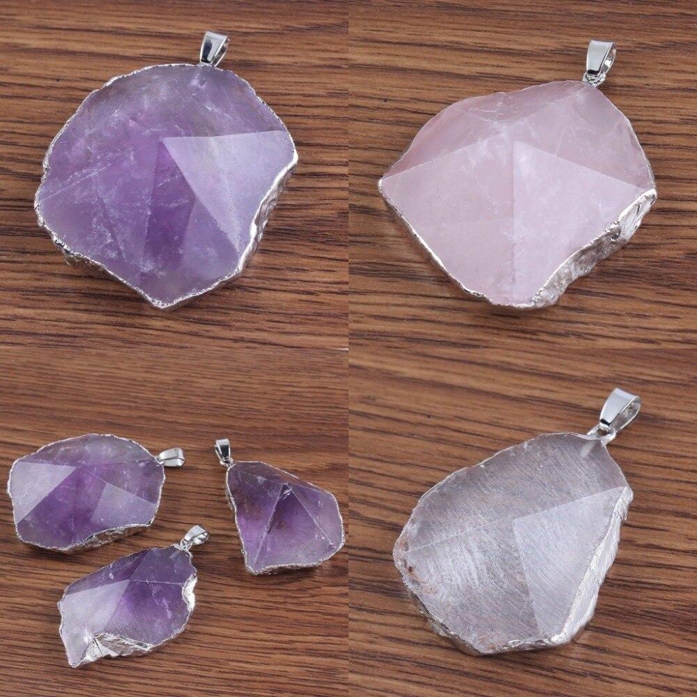 Kraft-beads Silver Plated Purple Irregular Shape Amethysts Rose Pink Quartz Rock Crystal Pendant Fashion Jewelry