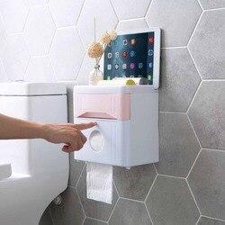 Do montażu na ścianie pudełko na gazety wielofunkcyjny toaleta wc uchwyt na papier umieścić telefon komórkowy pojemnik na papier toaletowy Tissue Box