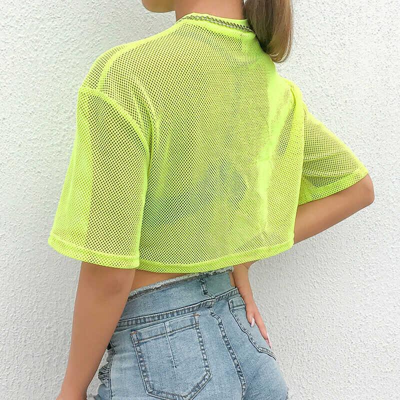 Для женщин прозрачные сетчатые кроп-топы неоновый зеленый прозрачный короткий рукав Повседневное футболка панк готический уличной Сексуальные вечерние клуб одежда новый