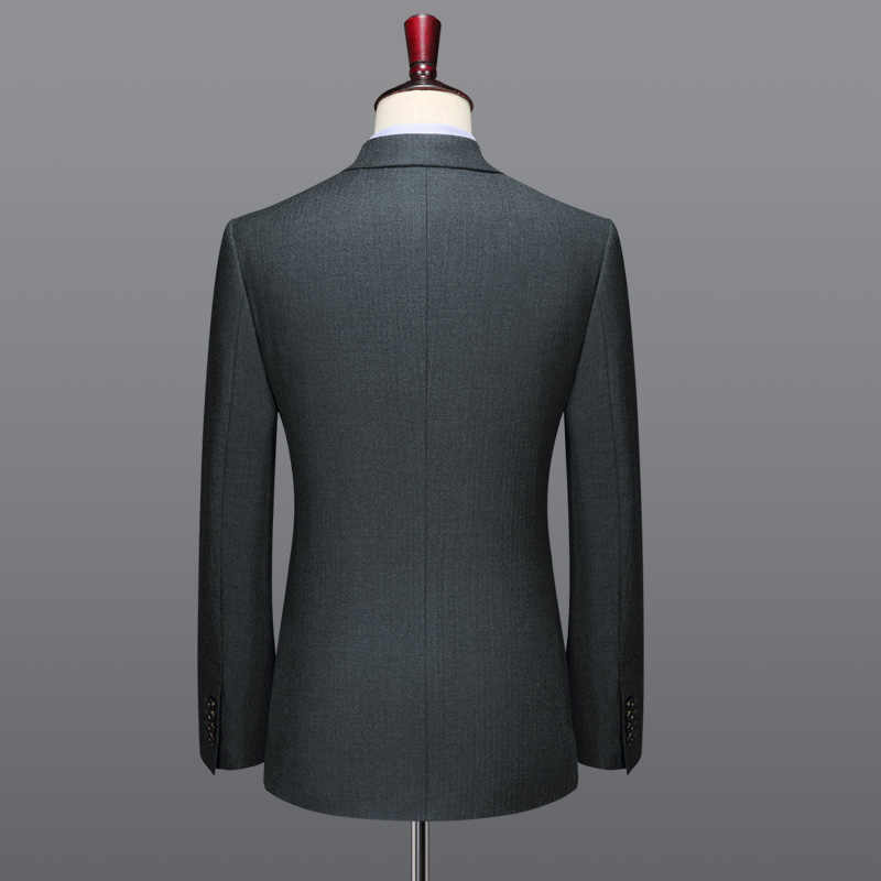 100% wool double breasted men suit set grey slim blazer pant wedding groom casual mens suits with pants plus size blazers
