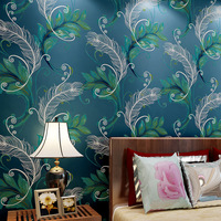 3D Non Woven Wallpaper Chinese Peacock Feathers Living Room Bedroom Background Wall Paper