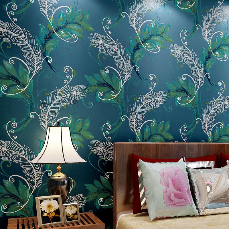 Online Get Cheap Chinois Style Plumes De Paon Papier Peint ...
