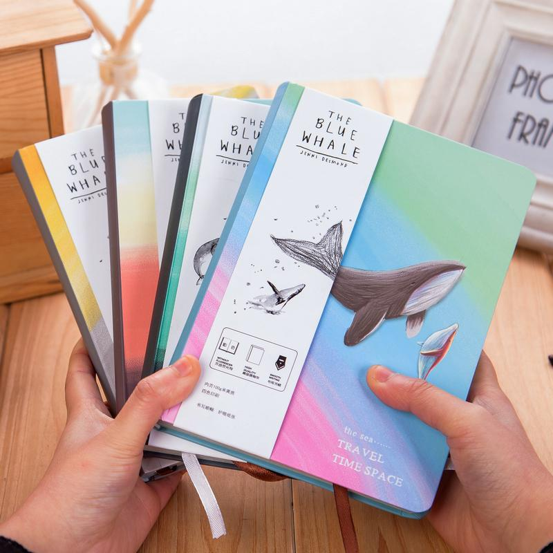 Fromthenon Color Painted Cute Whale Notebook Diary With Illustration Kids Notebook Korean Stationery Office & School Supplies