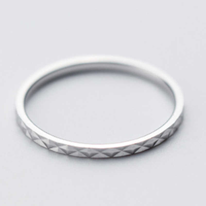 100% Tinh Khiết Bất Động 925 Sterling Silver Ring Thời Trang Đơn Giản Tia Sáng Lóe Lên Gleam Chiếc Nhẫn Mỏng ngón tay Nhỏ Vòng Đối Với Phụ Nữ Đồ Trang Sức rose Gold