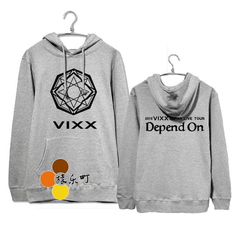 Plus size men women loose pullover hoodies kpop vixx 2016 japan live tour depend on printing sweatshirt fleece sudaderas