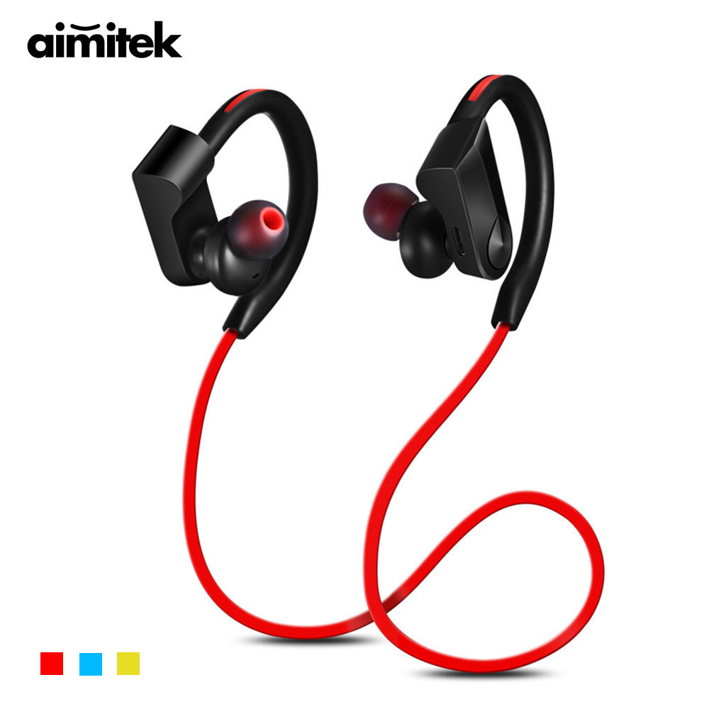 Aimitek Sports Bluetooth Earphones Wireless Headphones Sweatproof Stereo Ear Hook Headsets Super Bass Earbuds Handsfree with Mic new fashion sweatproof wireless bluetooth v4 0 sports stereo headphones with mic ear hook earbuds earphones for iphone for sony