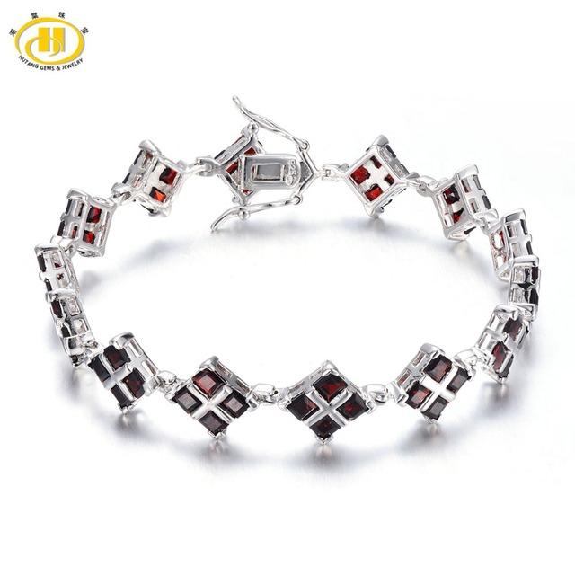 """Hutang 12.32Ct Sólidos 925 Sterling Silver Natural Garnet Gemstone Fine Jewelry Ligação Pulseira para mulheres Presente de Aniversário de 7"""""""