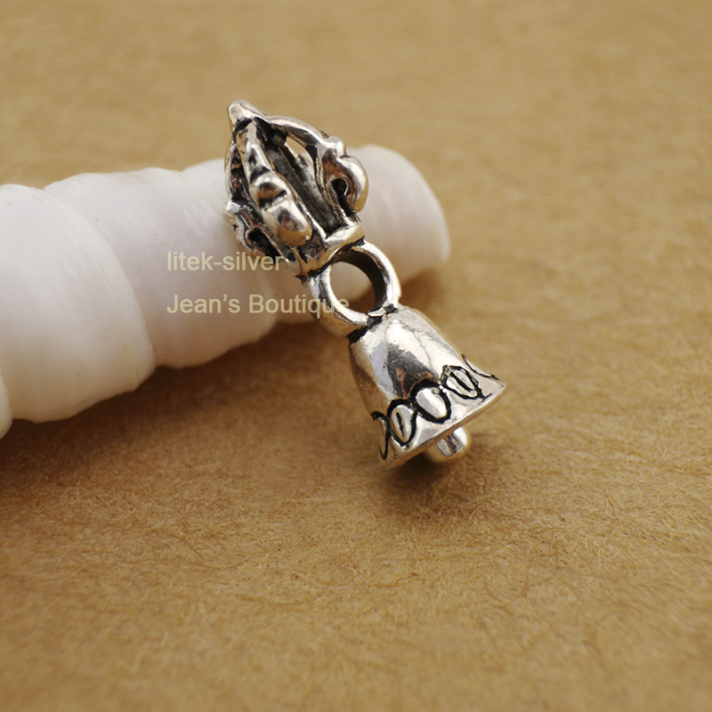 Sterling Silver Tibetan Buddhism Vajra Bell Dorje Charm Spacer Pendant Diy A2267 Customers First Home & Garden