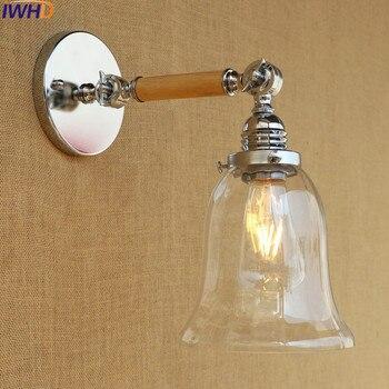 IWHD זכוכית תעשייתי מנורות קיר אור Up Down זרוע נדנדה לופט בציר מנורת קיר Led רטרו Luminaire Arandela Lampara דה Pared
