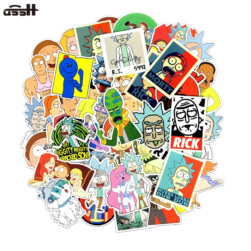 50 Pcs Rick And Morty Cartoon Waterproof Sticker For Luggage Skateboard Phone Laptop Moto Trunk Guitar Car Helmet DIY Stickers