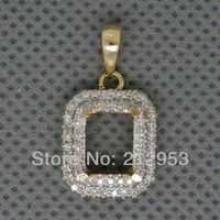 Vintage pendant design Emerald Cut 6x8mm 14Kt Yellow Gold Semi mount Pendant 2T018