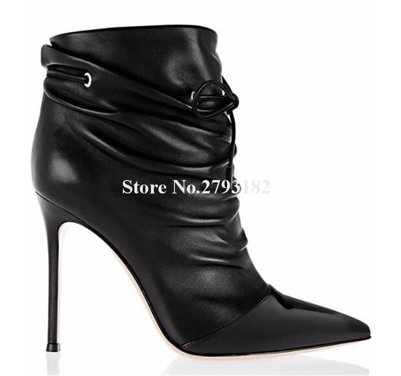 Women Elegant Black Leather Pointed Toe Lace-up Thin Heel Short Boots Classical Style Patent Toe High Heel Ankle BootsWomen Elegant Black Leather Pointed Toe Lace-up Thin Heel Short Boots Classical Style Patent Toe High Heel Ankle Boots