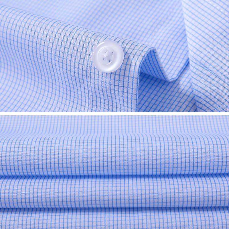 ブランド 2018 小さな格子縞のシャツの男性長袖ターンダウン襟男性のカジュアルシャツオフィス男性 masculina