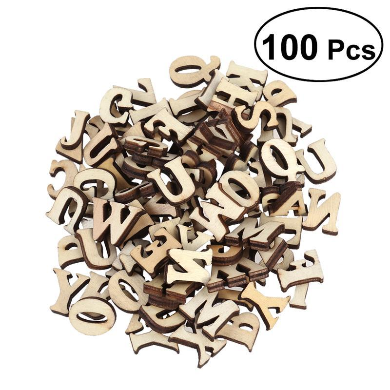 Unfinished Wooden Capital Letters Alphabet Wood Cutout Discs For Patchwork Scrapbooking Arts Crafts DIY Decoration Display Decor