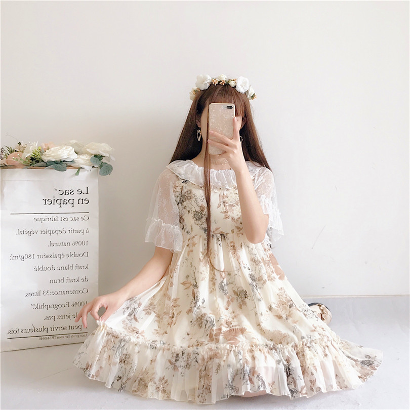Women's Dresses Chic Lady Kawaii Floral  Cute Strap Dress Female Ins Vintage Harajuku Dress For Women Casual