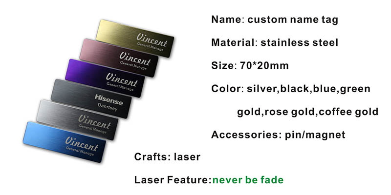 10pcs custom name tag personalized name badge staff work id business laser plate badge with magnet or pin  (22)
