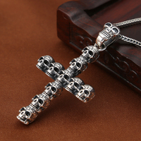 Fashion Man 925 Sterling Silver Pendant Christian Cross Metal Jewelry Pendant Religious Skeleton Personality Silver Jewellery