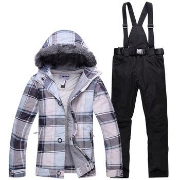 Дешевая зимняя одежда женский лыжный костюм комплект на открытом воздухе  Катание на лыжах Сноубординг костюмы термо 91da5232c24