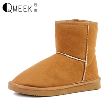 QWEEK Women Boots Suede Round Toe Snow Boots Size 35-40 Slip-on Winter Warm Thickening Flat Breathable Ankle Boots for Women