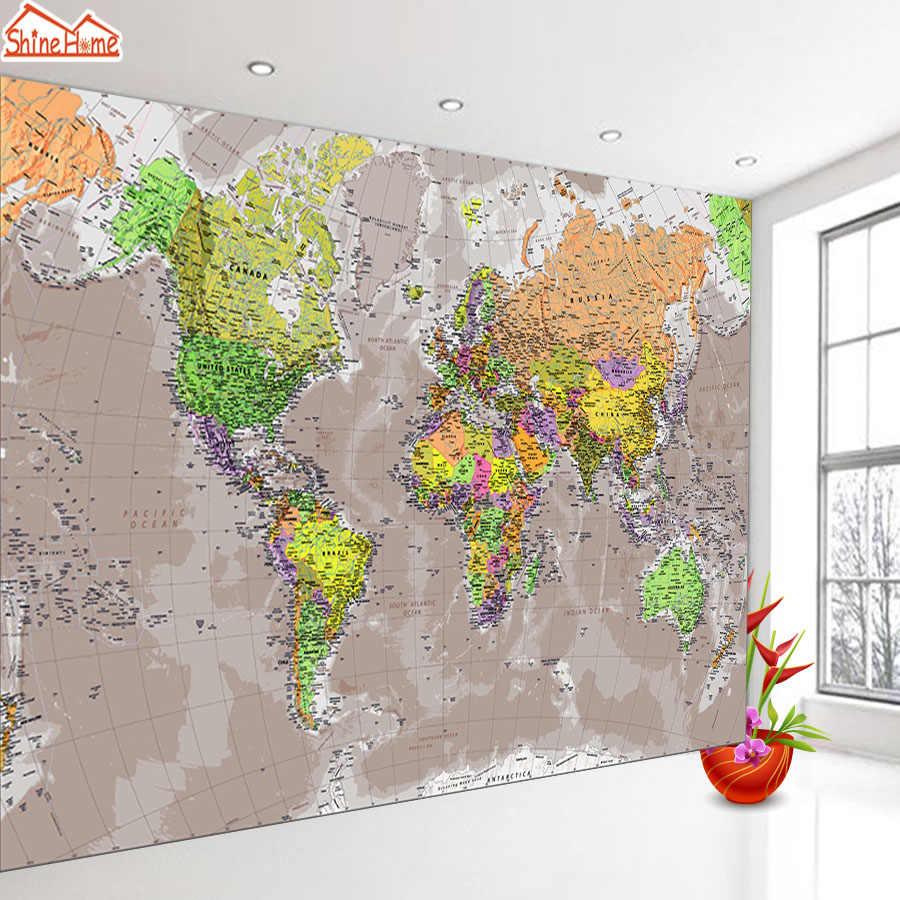 На заказ 3d фотообои настенные бумаги домашний декор карта мира для гостиной Детские принты обои диван ТВ фон Искусство