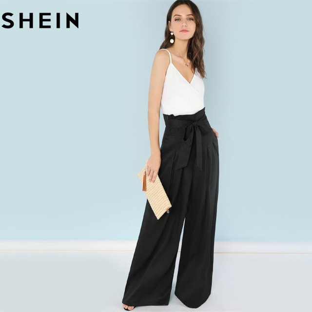 SHEIN Self Belted Box Pleated Palazzo Pants Women Elegant Loose Long Pants 2018 Fall Ginger High Waist Wide Leg Pants 3
