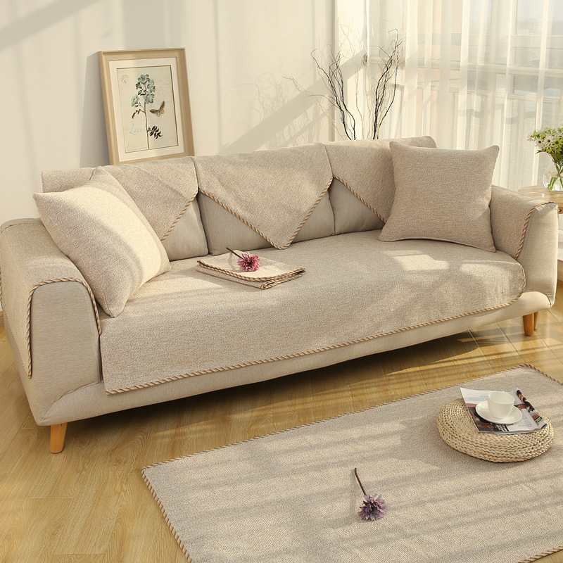 Europe Style Beige Brown Polyester Cotton Sofa Cover Towel