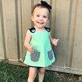 Meninas bonitos do bebê t-shirt verão 2017 nova da menina do bebê roupas sem mangas verde bebê menina cobre tee crianças camiseta infantil clothing