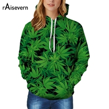 Raisevern harajuku green weed full print 3D hoodies hemp leaf printed hooded sweatshirts fashion outerwear clothing plus size
